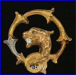 Victorian 14K Yellow Gold Diamond Griffin Leopard Antique Brooch Pin