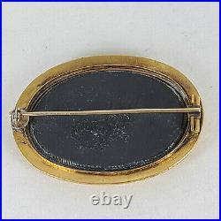 Victorian 14K Yellow Gold Etruscan Work Framed Pietra Dura Lilies Brooch Pin