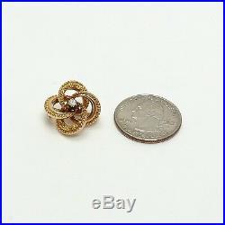 Victorian 14k Gold. 10ct Mine Cut Diamond Ornate Quatrefoil Spiral Brooch Pin