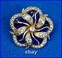 Victorian 14k Gold, Enamel Flowers, Diamond, and Seed Pearl Pendant Brooch Pin