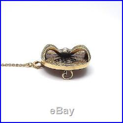 Victorian 14k Gold Enamel Seed Pearl Brooch Pin Pendant Lariat Necklace