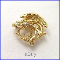 Victorian 14k Gold Griffin Gryphon. 25ct European Cut Diamond Brooch Watch Pin