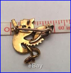 Victorian 14k Gold Griffin Serpent Pendant Brooch Pin Seed Pearl Ruby