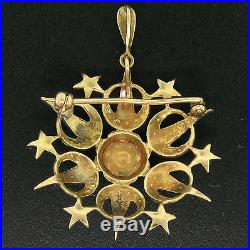 Victorian 14k Yellow Gold Old Cut Diamond & Pearl Large Crescent Star Brooch Pin