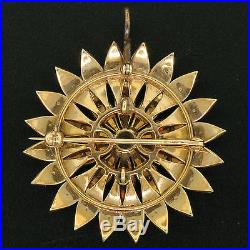 Victorian 14k Yellow Gold Old Mine Cut Diamond & Pearl Large Flower Brooch Pin