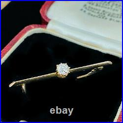 Victorian 15ct, 15k, 625 Rose Gold, Diamond 0.30ct solitaire bar brooch, tie pin