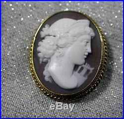 Victorian 15ct Gold Framed Carved Conch Shell Cameo Brooch Pin Beautiful Quality