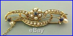 Victorian 15ct Gold, Seed Pearl & Sapphire Brooch / Pin With Safety Chain