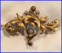 Victorian 18K Gold Brooch Pin with Diamonds, Old European Cut. 12 tcw. No Polish