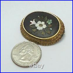 Victorian 18K Gold Italy Pietra Dura Inlaid Mosaic Floral Brooch Pin