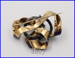 Victorian 18K Gold, Rose Cut Diamond, Enamel Snake Ribbon Brooch, Antique Pin