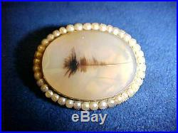 Victorian 18k Yellow Gold MOSS AGATE With Seed Pearls Oval Pin Brooch NICE