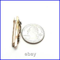 Victorian 9K 9CT Rose Gold Seed Pearl Flower Bar Brooch Pin