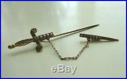 Victorian 9k Gold Enamel & Seed Pearl Two-part Sword Dagger Brooch Pin Antique