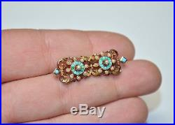 Victorian Antique 10K Gold Turquoise & Seed Pearl Bar Pin/Brooch Etruscan RARE