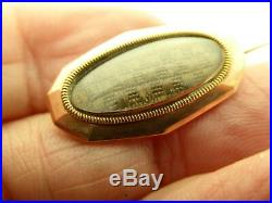 Victorian Antique Hair Mourning 10KT Rose Yellow Gold Small Oval Brooch Pin