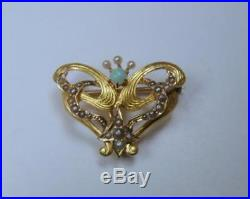 Victorian Art Nouveau 14K Gold Watch Pin Brooch Butterfly with Opal & Seed Pearls