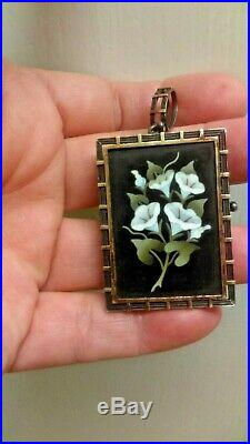 Victorian Brooch pin Pietra Dura MOSAIC Pendant 800 Silver Gold Filled