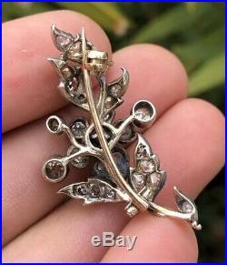Victorian Edwardian 14k Yellow Gold Old Mine Rose Cut Diamond Flower Pin Brooch