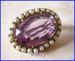 Victorian Gold Amethyst And Seed Pearl Brooch Pin Total Carat Weight Is 6.5 Cts