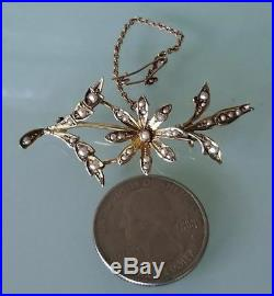 Victorian Gold Seed Pearl Flower Brooch Pin/Antique 9k Gold Pearl Brooch/14k Pin