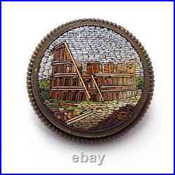 Victorian Gold Wash Sterling Mini Micro Mosaic Colosseum Rome Italy Brooch Pin