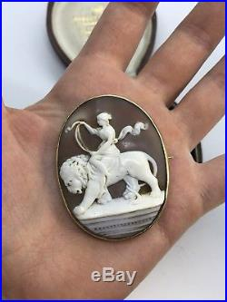 Victorian Heavy Gold Cameo Large Goddess Riding Lion Brooch Pin Fine Antique