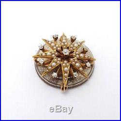 Victorian Krementz 14K Gold Mine Cut Diamond Pearl Star Burst Brooch Pin Pendant