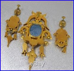 Victorian Micro Mosaic 24K Yellow Gold Pin Brooch and Earring Set