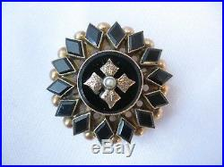 Victorian Mourning Brooch Pin Pendant Black Onyx 14k Gold Edwardian Perfect