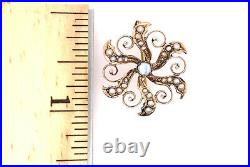 Victorian Opal Seed Pearl Brooch Pin 14K Yellow Gold Vintage Antique