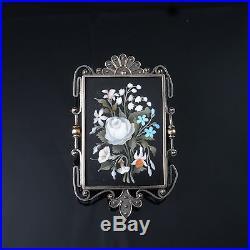 Victorian Pietra Dura Brooch Pin Pendant Antique Italian 14K Gold Silver Floral