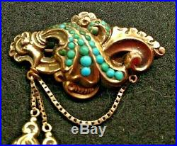 Victorian Repousse 14k Gold Turquoise Brooch Pin w Tassels Antique BIN Free Ship