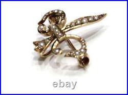 Victorian Seed Pearl Fleur De Lis Watch Pin 14k Yellow Gold English