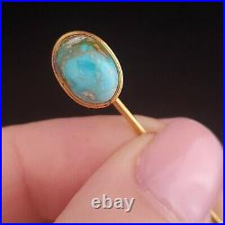 Victorian Turquoise 10k Yellow Gold Stick Pin Antique Estate Brooch Gift
