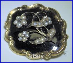 Victorian Yellow Gold Black Enamel Seed Pearl & Diamond Hair Brooch Pin C1844