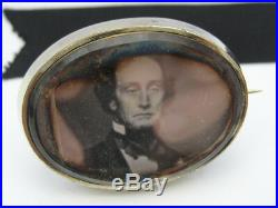 Victorian era Gold Rock Crystal Photo Locket Mourning Mori Memento Brooch Pin