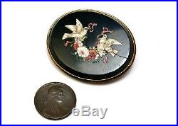 Victorian micro mosaic doves flowers in onyx gold filled frame oval brooch pin