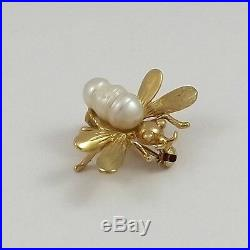 Vintag 14K Yellow Gold Germany Baroque Pearl Bumblebee Brooch Pin 2.6gr