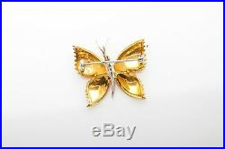 Vintage $1200 14k Yellow Gold BUTTERFLY Diamond Brooch Pin