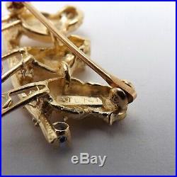 Vintage 14K Gold 3 Chickadee Birds On Branch Garnet Eyes Brooch Pin