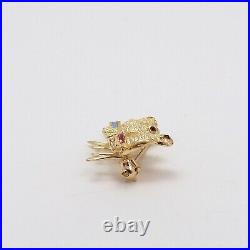 Vintage 14K Gold 3 Chickadee Birds On Branch Gemstone Eyes Brooch Pin