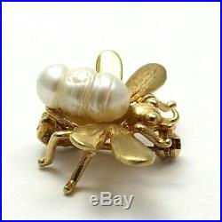 Vintage 14K Gold Germany Baroque Pearl Bumblebee Brooch Pin 2.6 Grams
