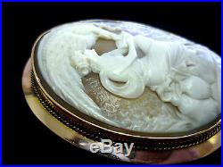 Vintage 14K Gold Hebe & Eagle Zeus Hand-Carved Shell Cameo Brooch/Pin Pendant