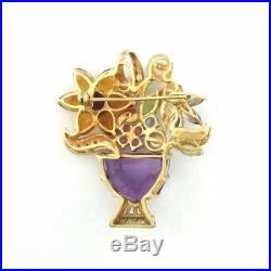 Vintage 14K Gold Multi Gemstone Diamond & Pearl Flower Bouquet Brooch Pin 16.9g