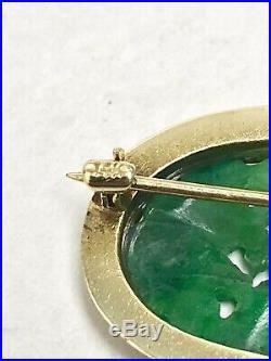 Vintage 14K Gold Seed Pearl, Carved Flower Jade Brooch / Pin