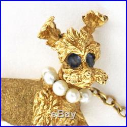 Vintage 14K Solid Gold Lovely Twin Poodles Pin / Brooch Set Jewels