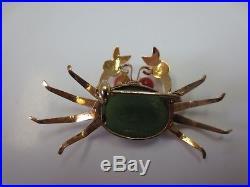 Vintage 14K Solid Yellow Gold Jade Body Coral Eyes Crab Brooch Pin 4.1 Gram