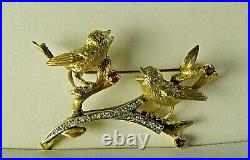 Vintage 14K Song Birds Pin Brooch Yellow & White Gold with Diamonds & Amethyst