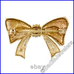 Vintage 14K Yellow Gold 4 Round Brilliant Prong Set Diamond Tied Bow Pin Brooch